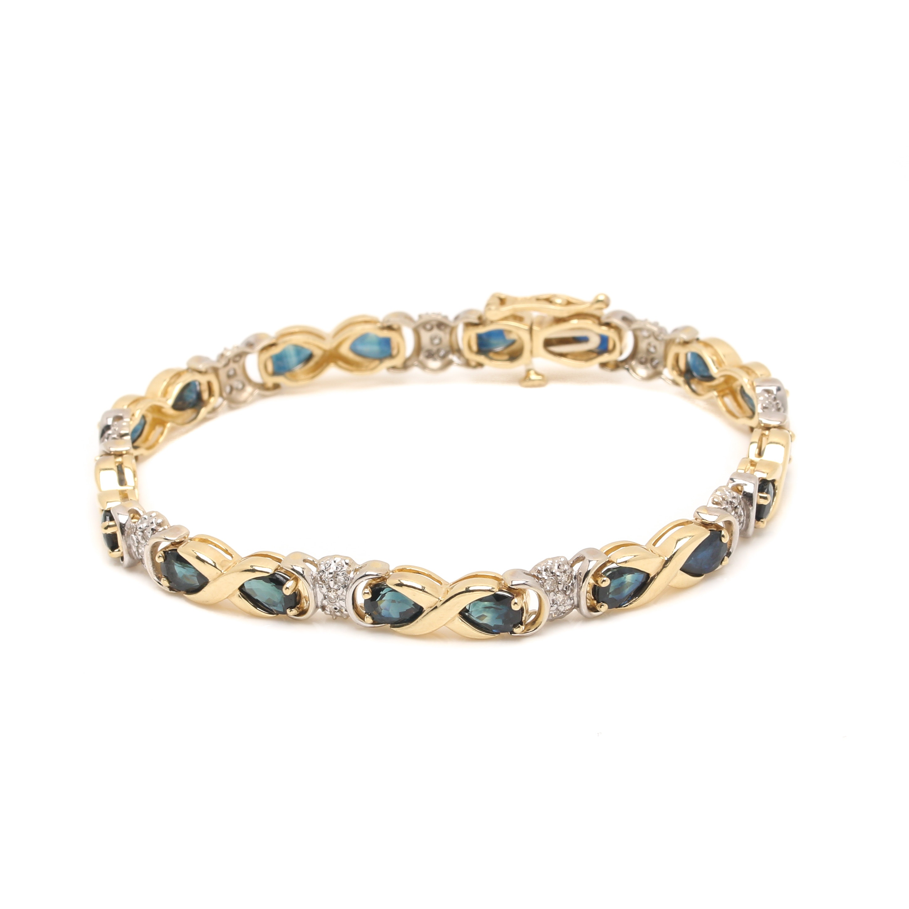 14K Two Tone Gold Sapphire and Diamond Tennis Bracelet