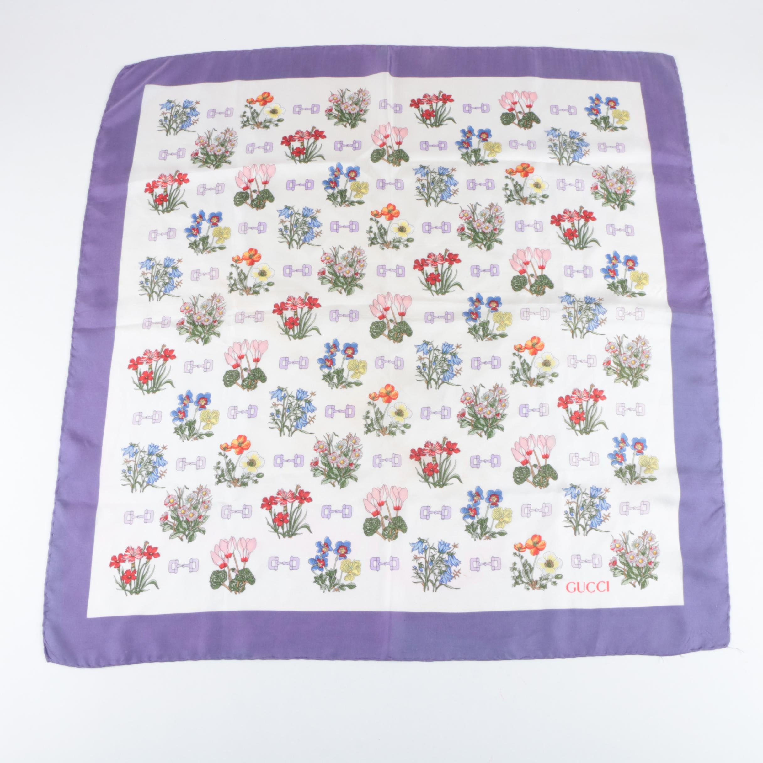 Gucci Silk Scarf with Floral Bouqets