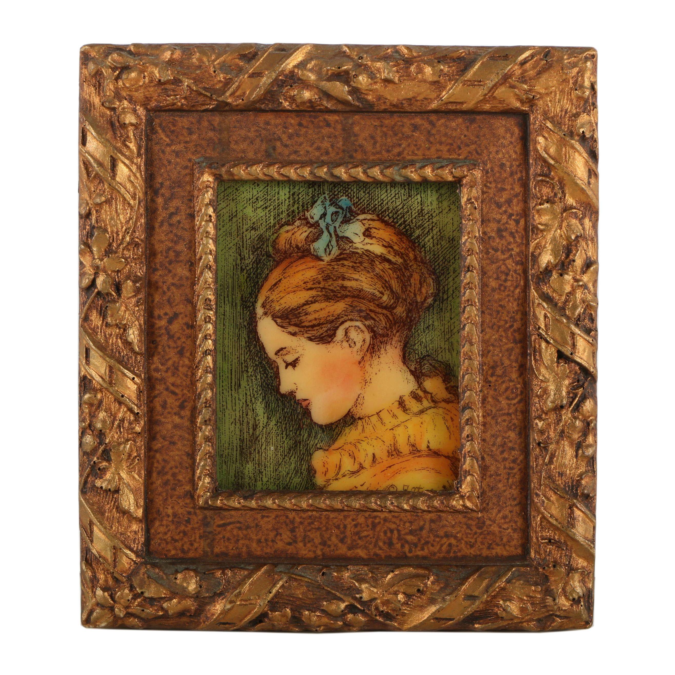 Artini Arts Hand-Painted Resin Portrait of Girl in Orange Dress