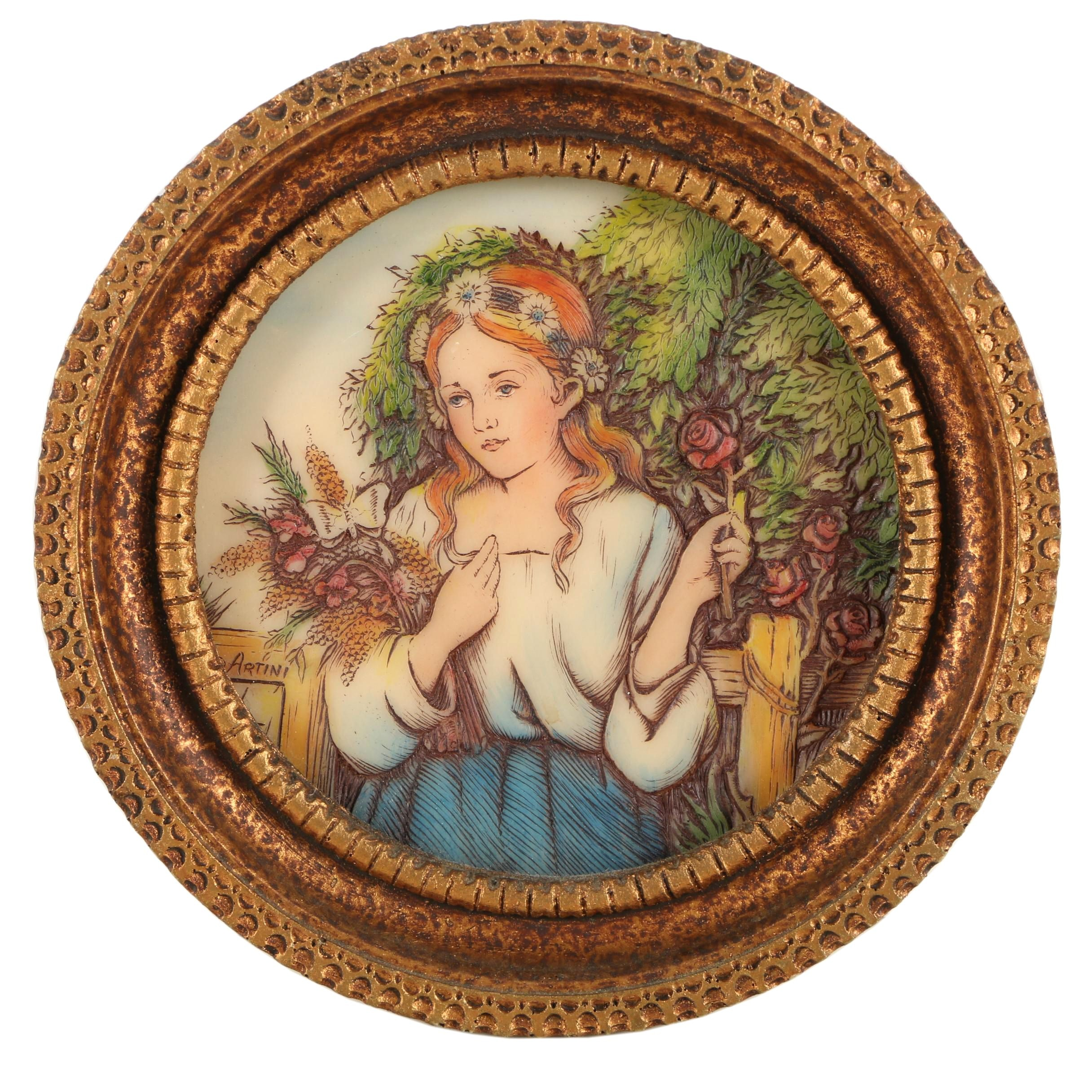 Artini Arts Hand-Painted Resin Engraving of a Portrait of Girl with Flowers