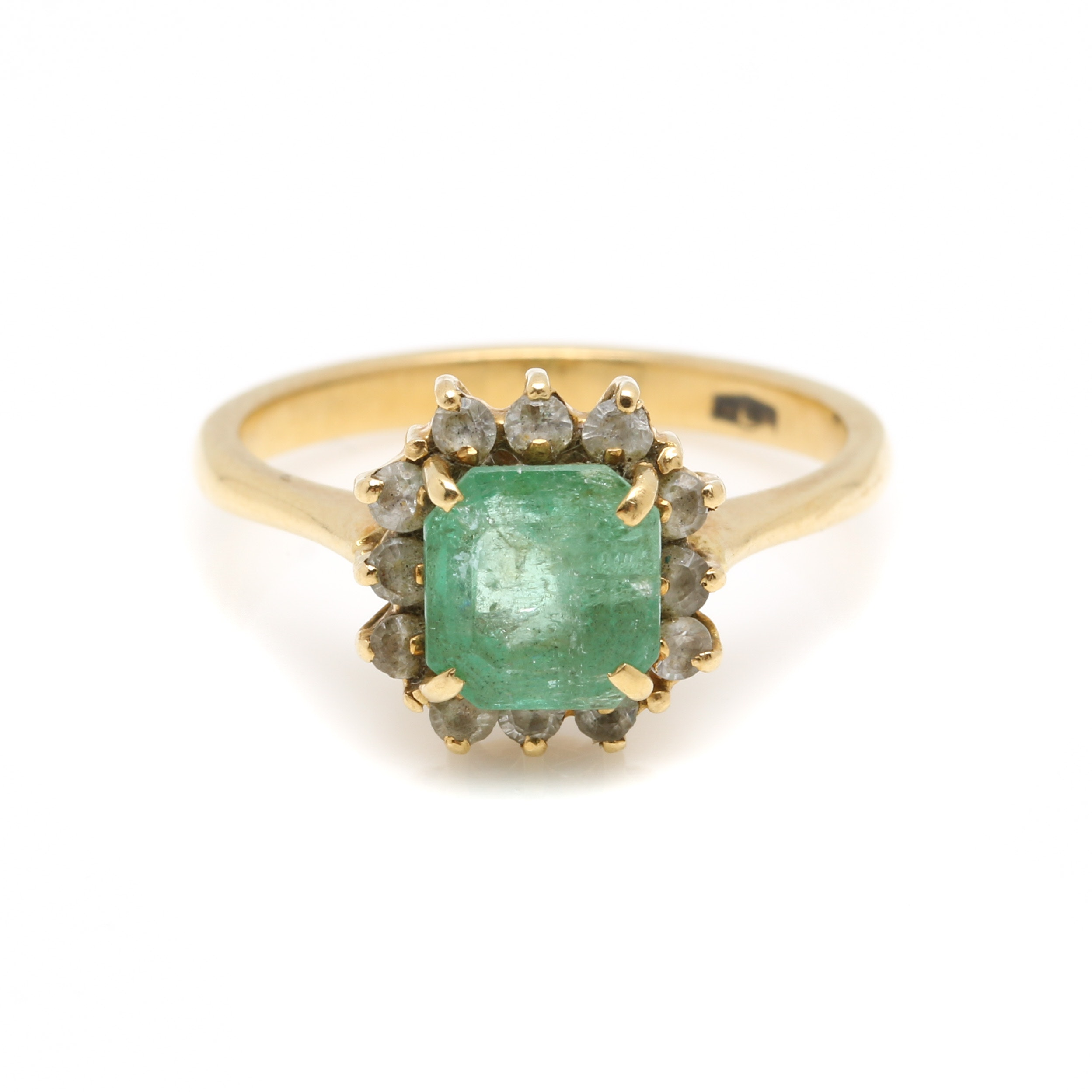 18K Yellow Gold 1.62 CT Emerald and White Zircon