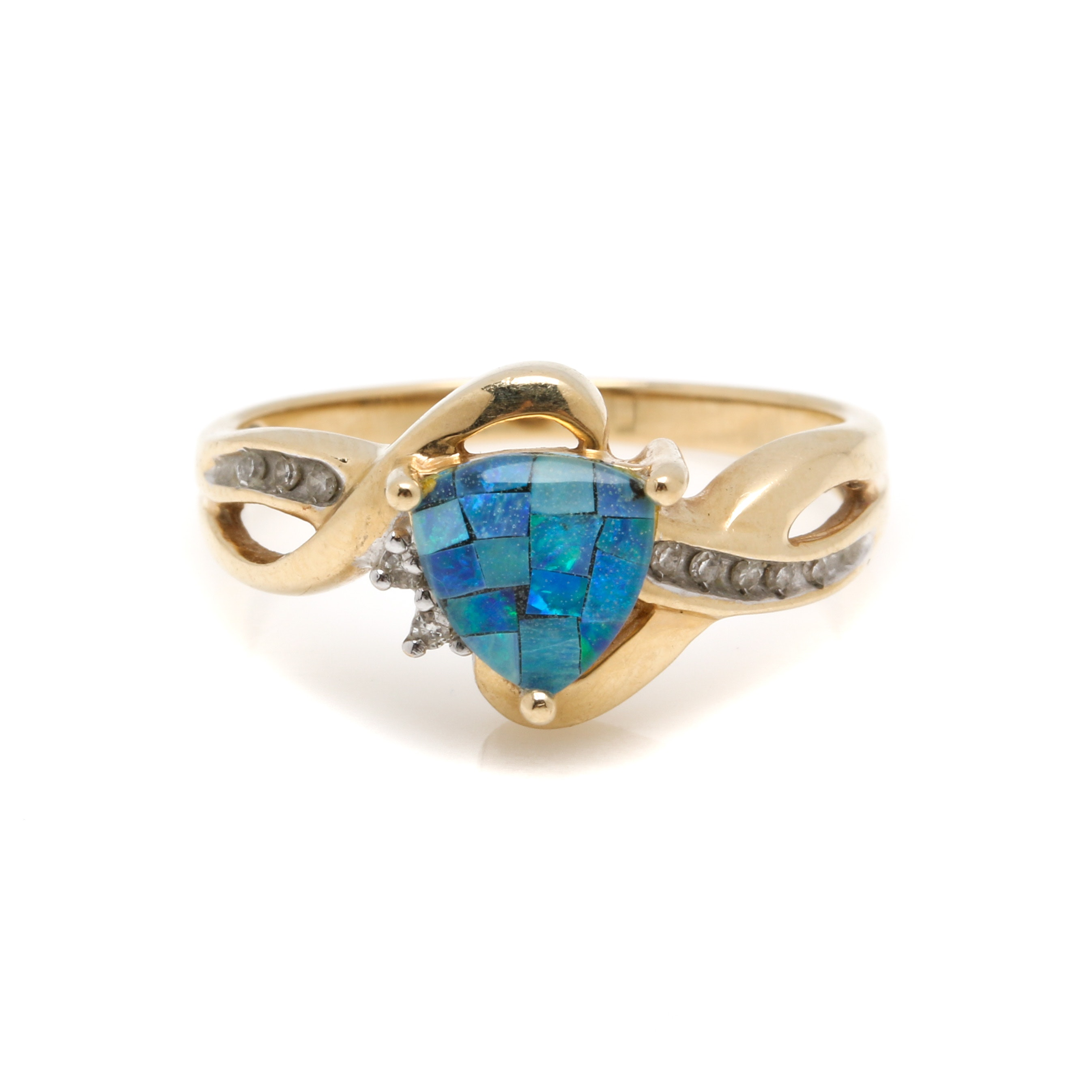 14K Yellow Gold Mosaic Opal Triplet and Diamond Ring