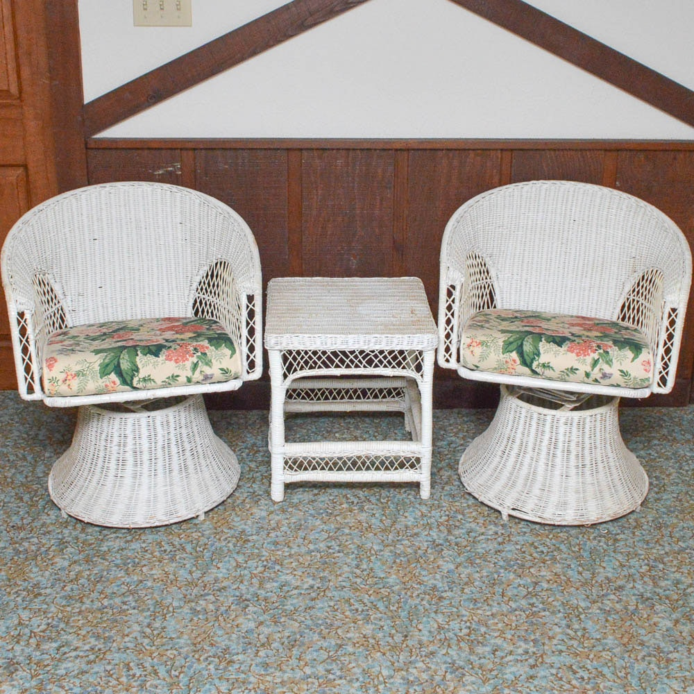 Wicker Swivel Pedestal Chairs And Side Table