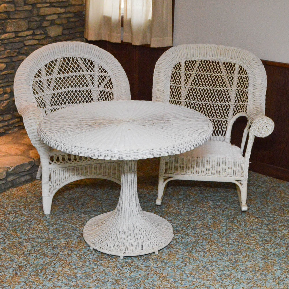 Genial Wicker Rocking Chair, Armchair And Tulip Style Table