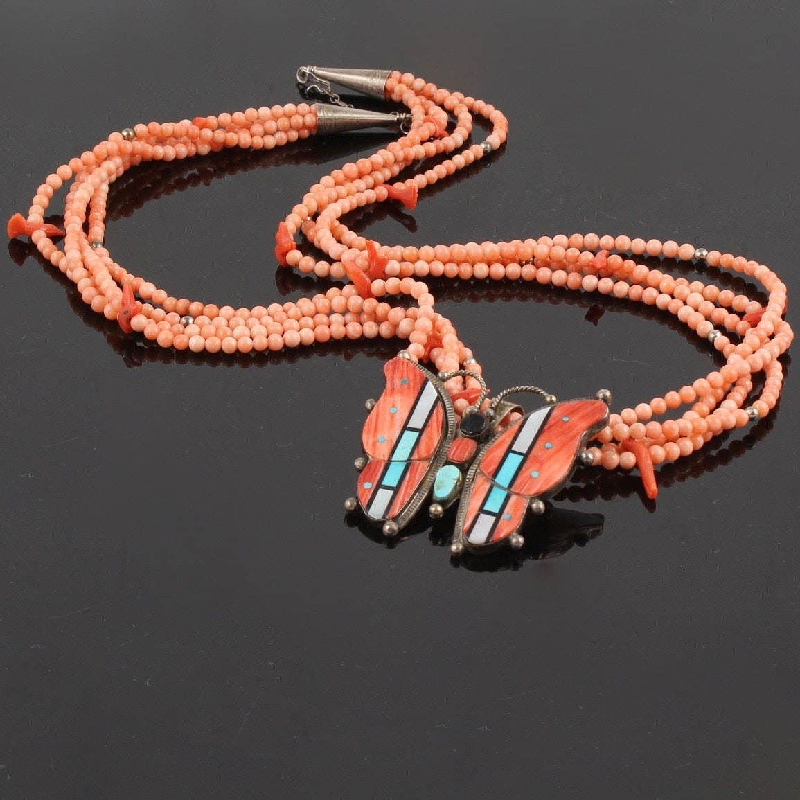 John Thornbeck Sterling Silver Pin with Coral Bead Fetish Necklace