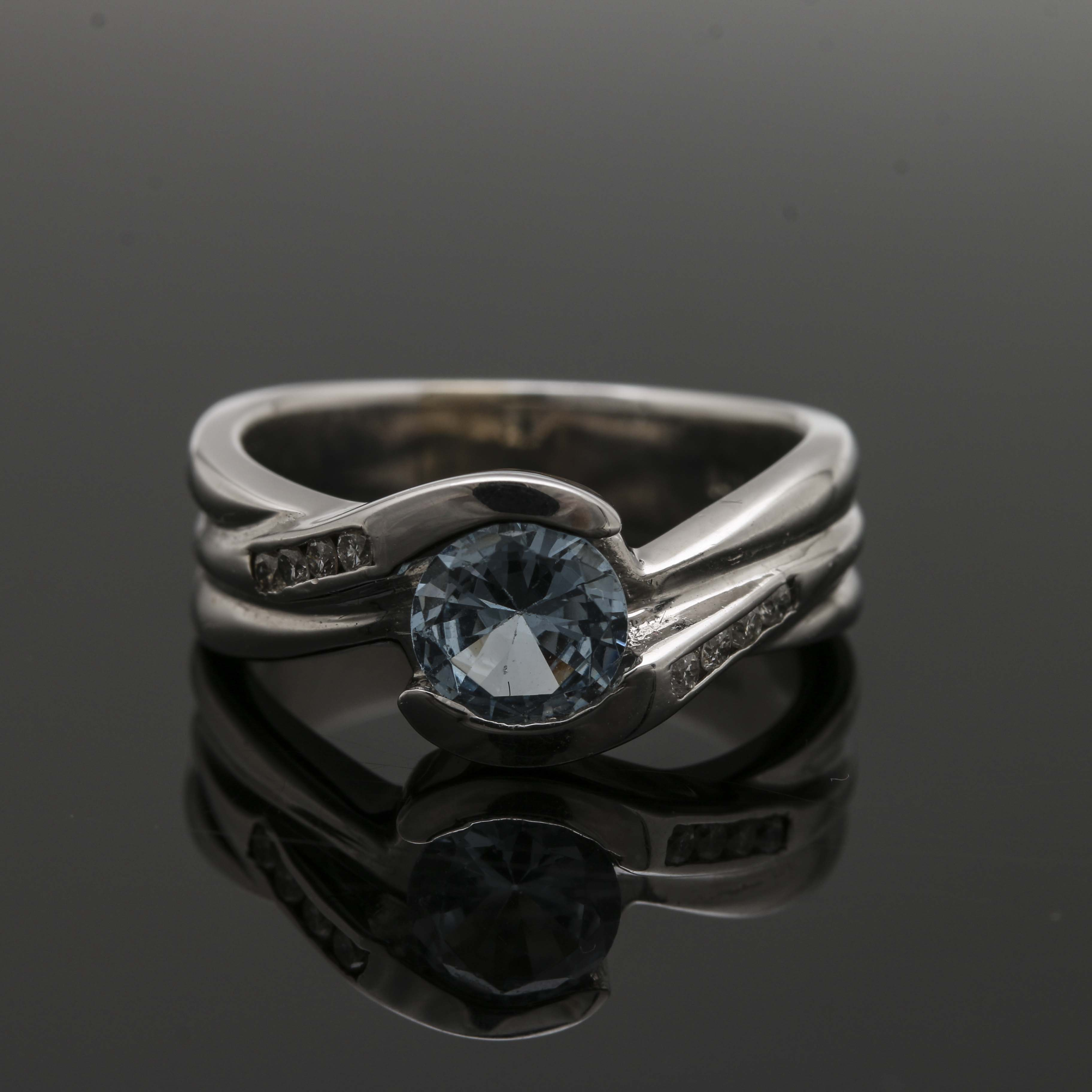 14K White Gold Synthetic Spinel and Diamond Ring