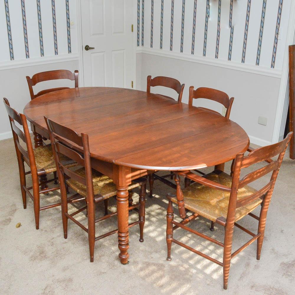 Vintage Walnut Drop-Leaf Dining Table and Six Ladderback Chairs ... & Vintage Walnut Drop-Leaf Dining Table and Six Ladderback Chairs : EBTH