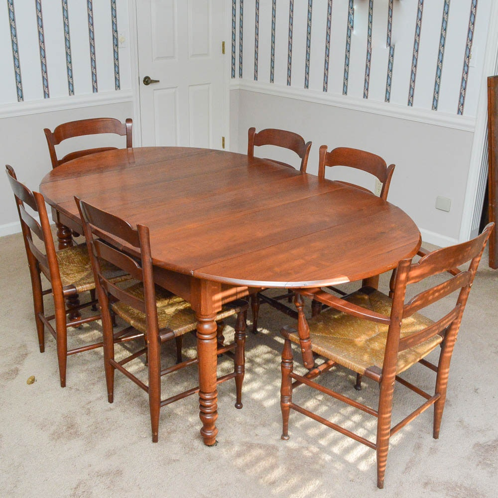 Vintage Walnut Drop Leaf Dining Table And Six Ladderback Chairs ...