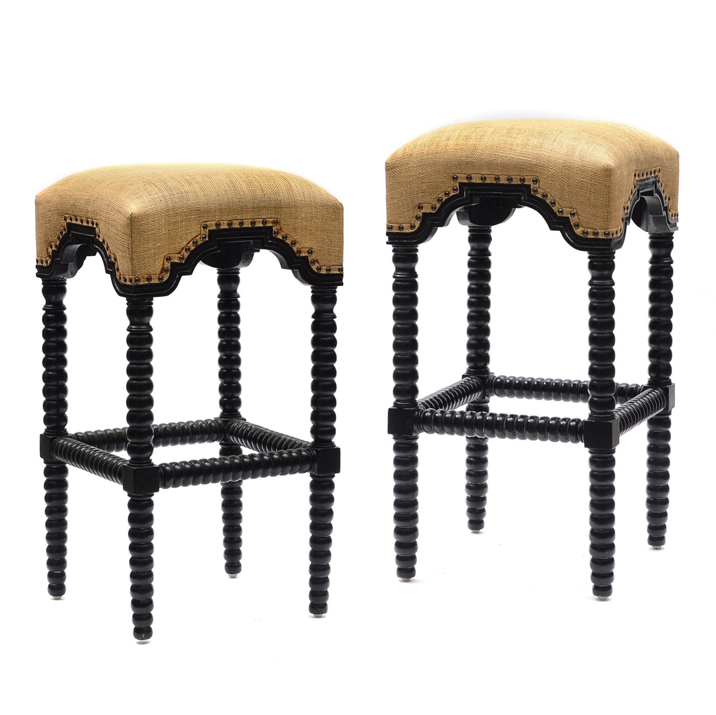 Pair of Contemporary Jenny Lind Spool Bar Stools