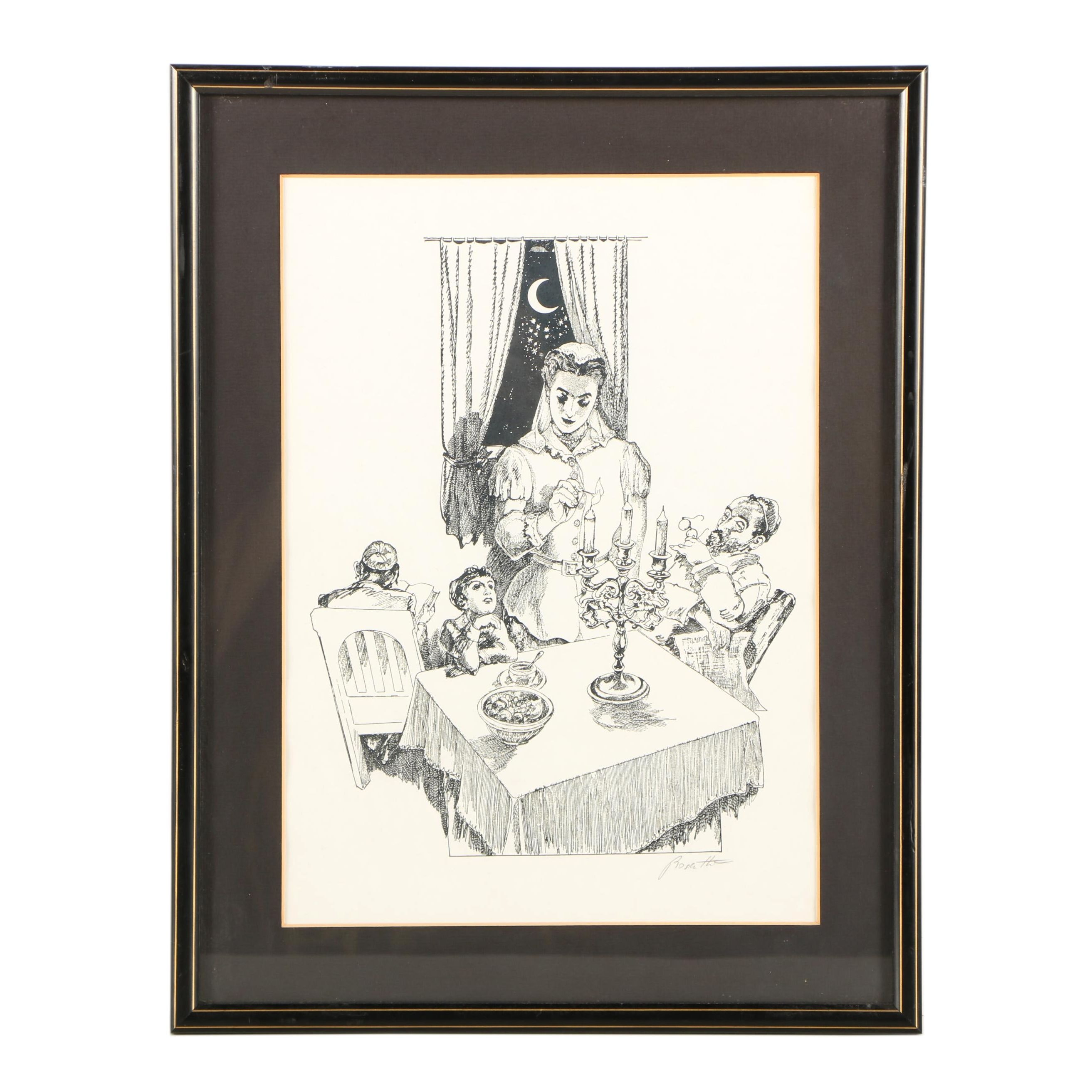 Rosenthal Lithograph of a Family