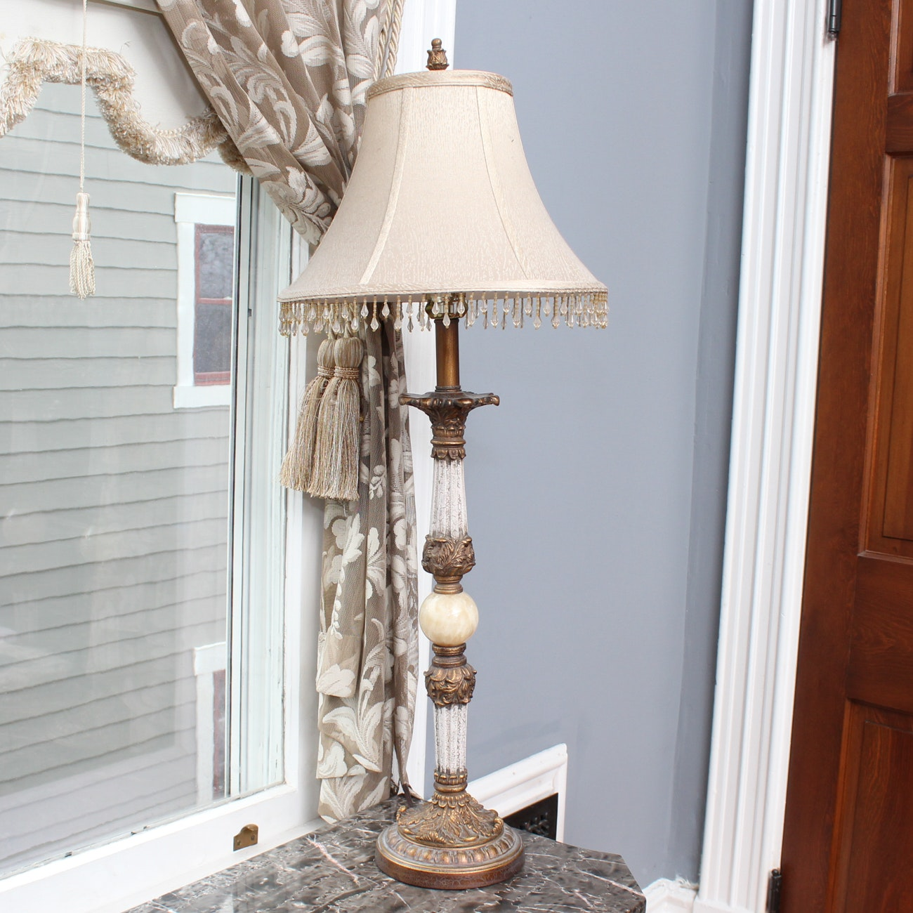 Carved Table Lamp with Stone