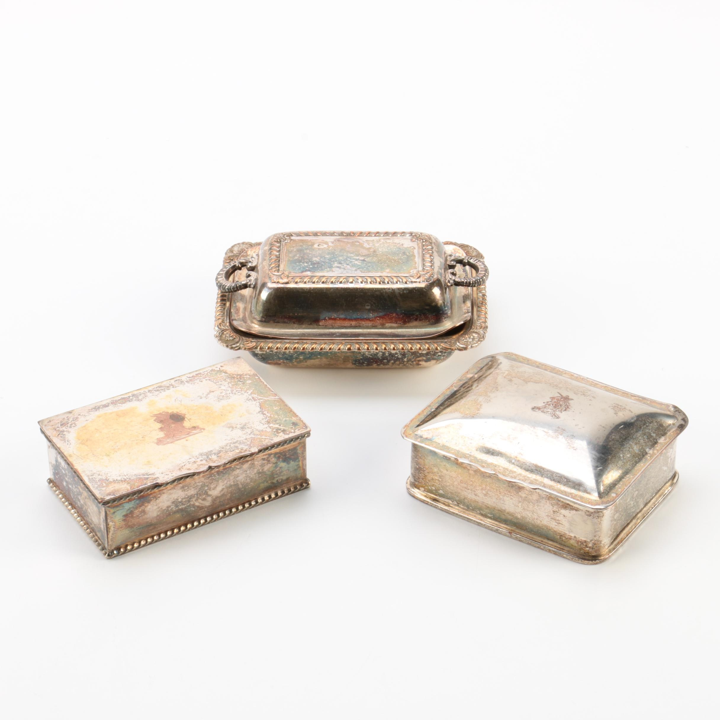 E.G. Webster & Son Silver Plate Small Covered Dishes with Trinket Boxes