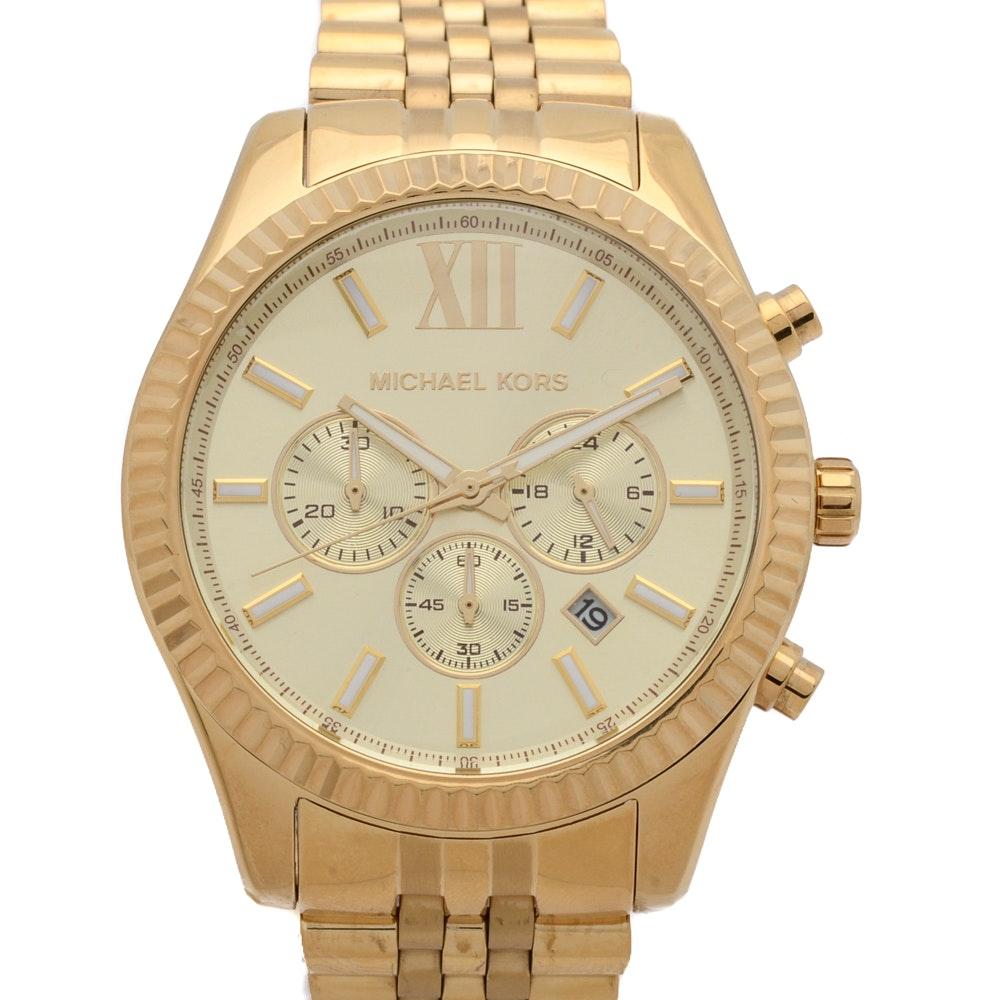 Michael Kors Lexington Chronograph Gold Tone Wristwatch