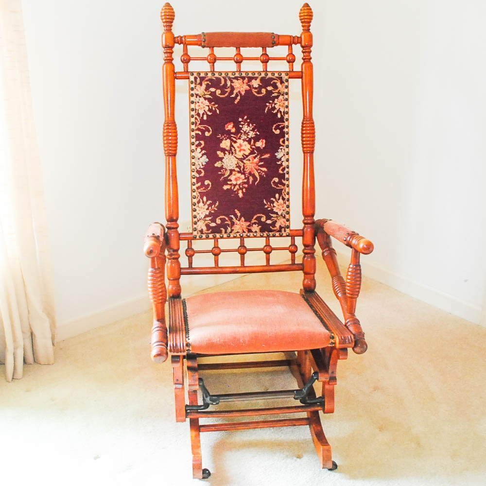 Antique Victorian  Stick-and-Ball  Platform Rocker ... & Antique Victorian