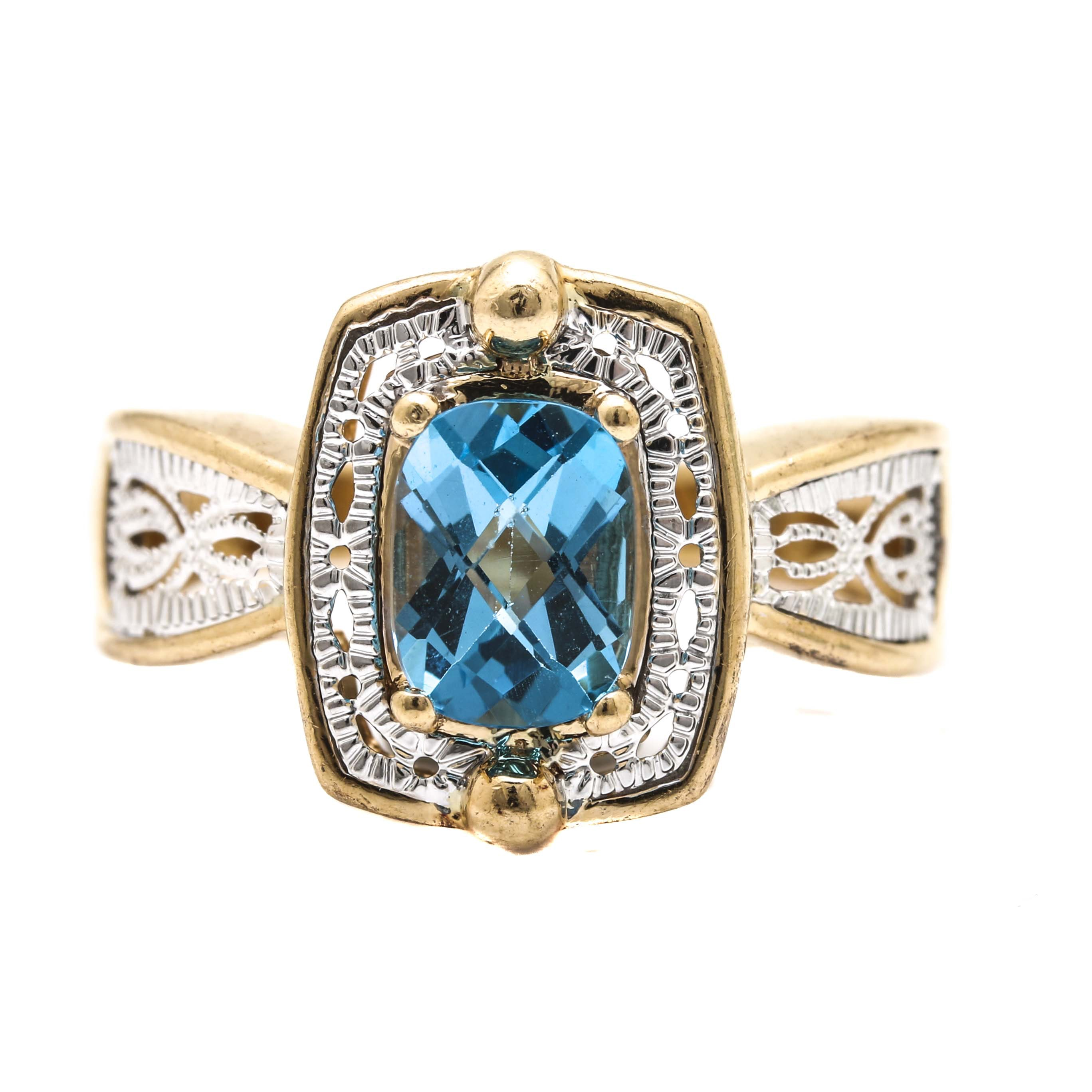 14K White and Yellow Gold Topaz Ring