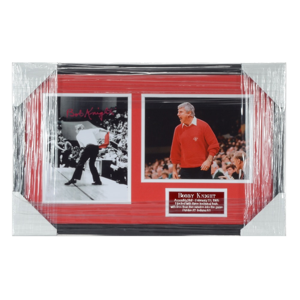 """Bobby Knight Autographed """"Throwing Chair Ejection"""" Basketball Display"""