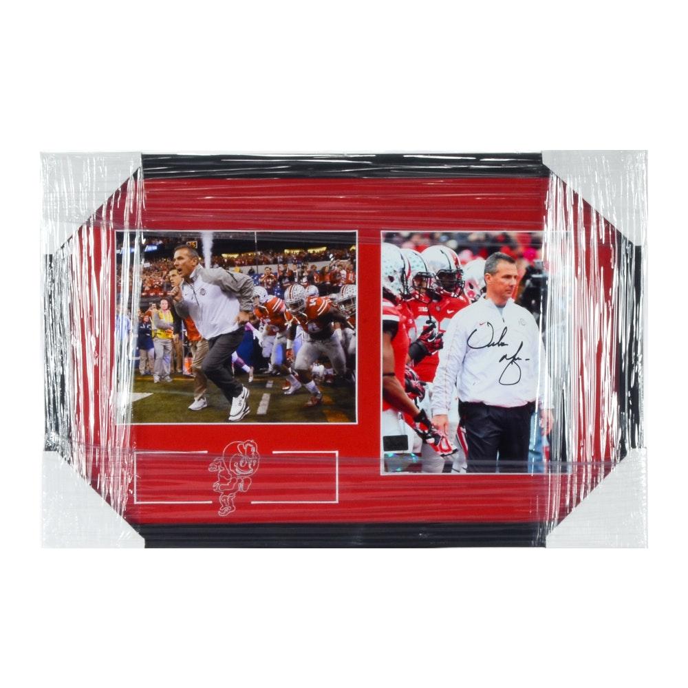 Urban Meyer Autographed Ohio State Buckeyes Framed Football Display