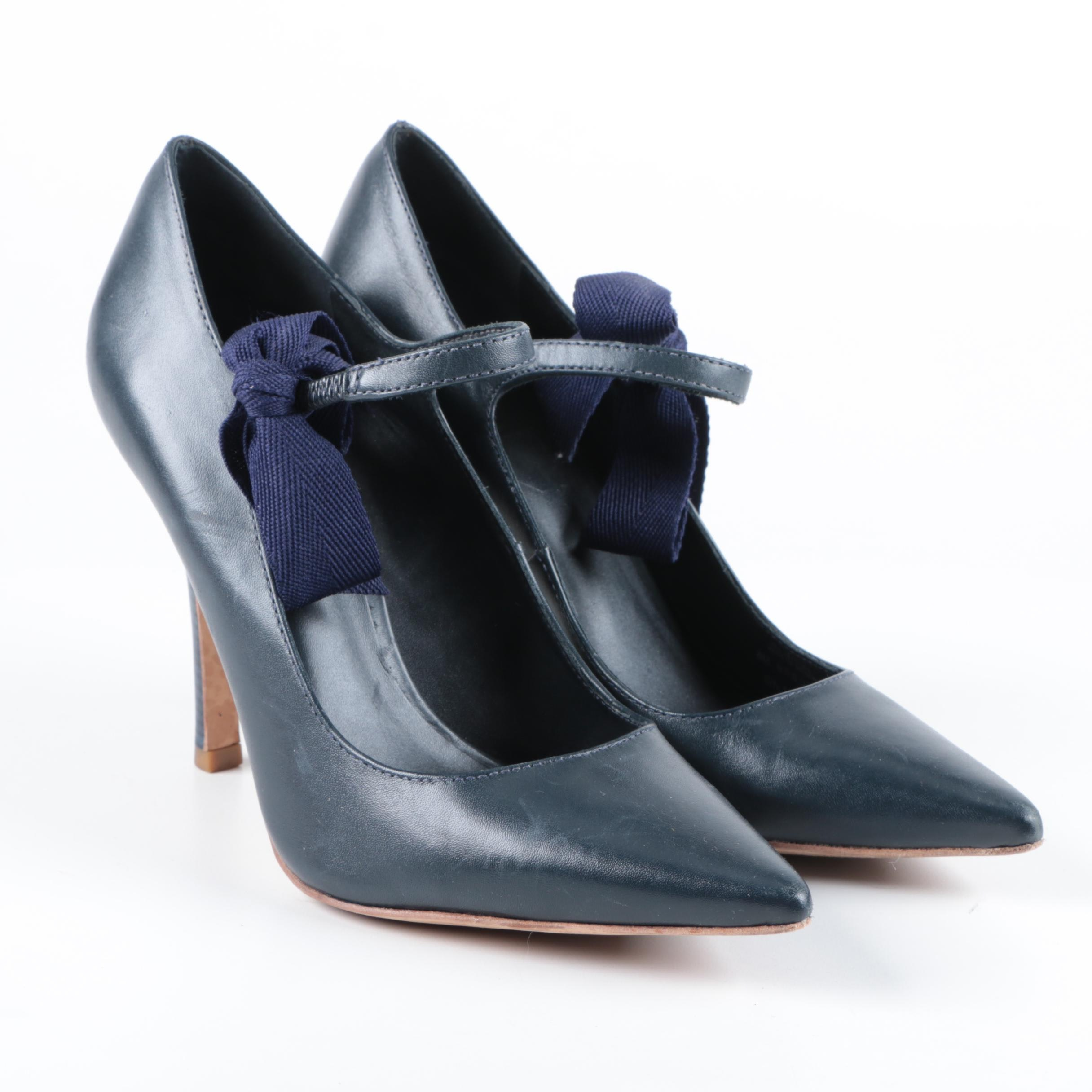 Tory Burch Navy Blue Leather High Heeled Shoes with Bows