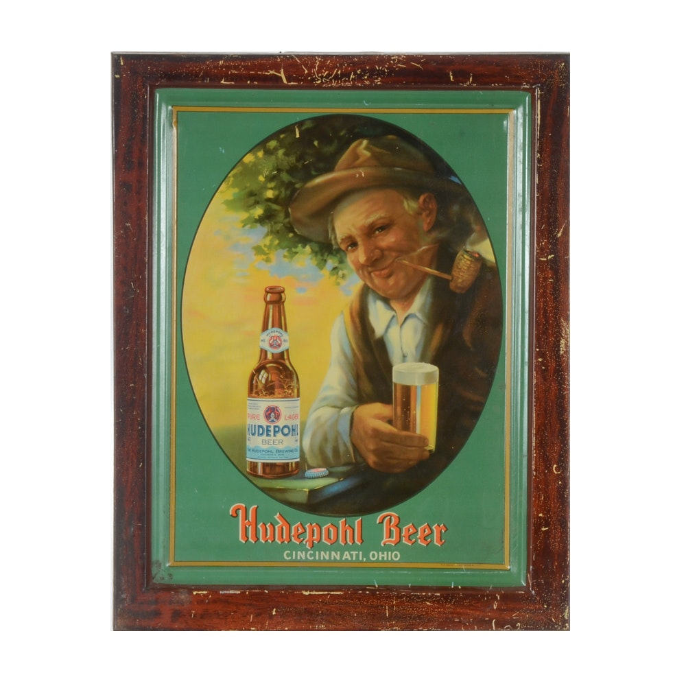 "1940s ""Hudepohl Beer"" Tin Lithograph Advertising Sign"