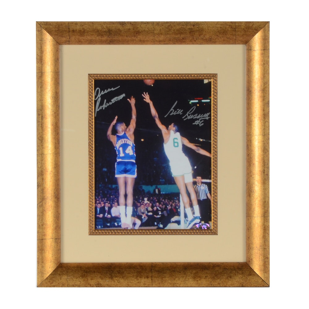 Oscar Robertson and Bill Russell Autographed Photo  COA
