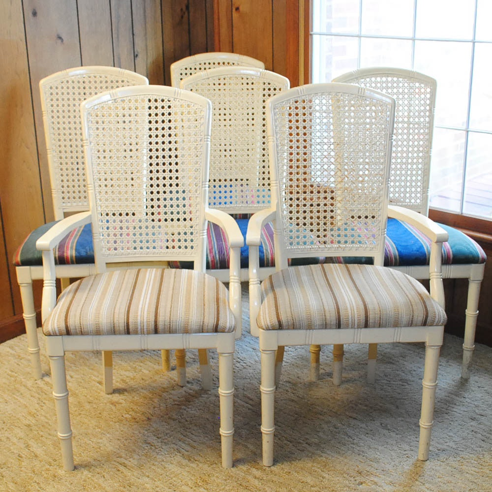 Set Of Vintage French Style Cane Dining Chairs ...