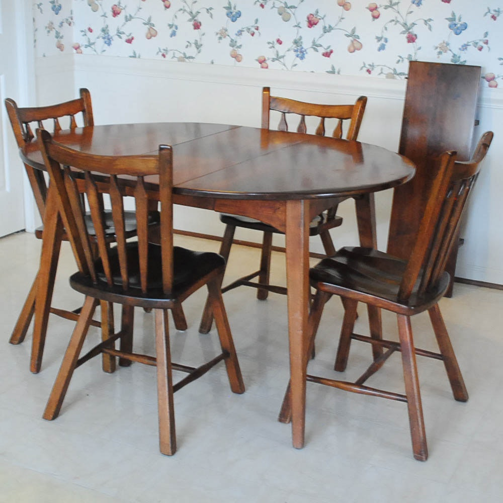 Maple Kitchen Table With Chair And Bench Ebth: Vintage Dining Table With Chairs By Cushman : EBTH