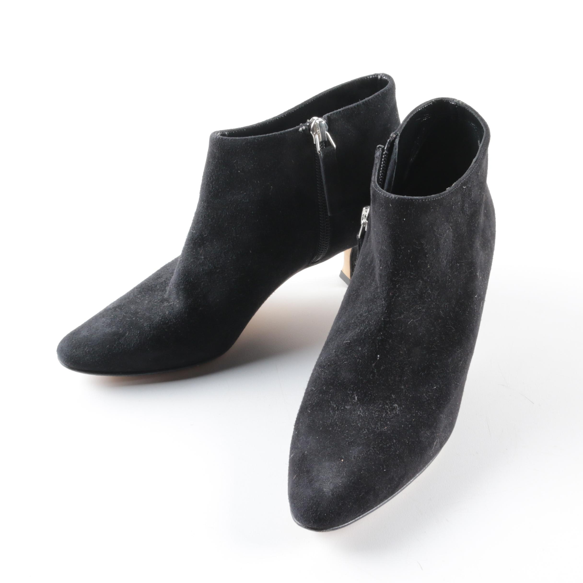 Manolo Blahnik Black Suede High Heel Booties