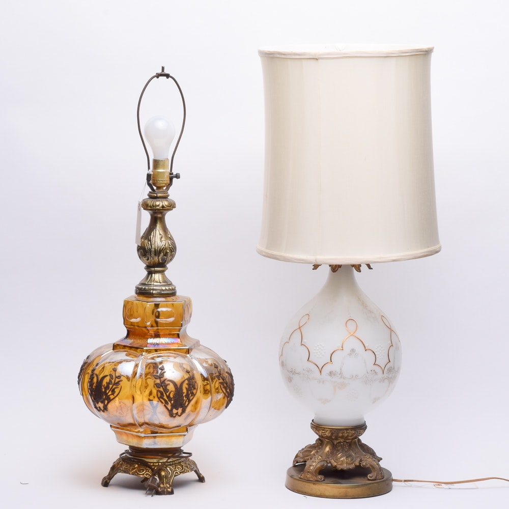 Mid Century Glass Table Lamps