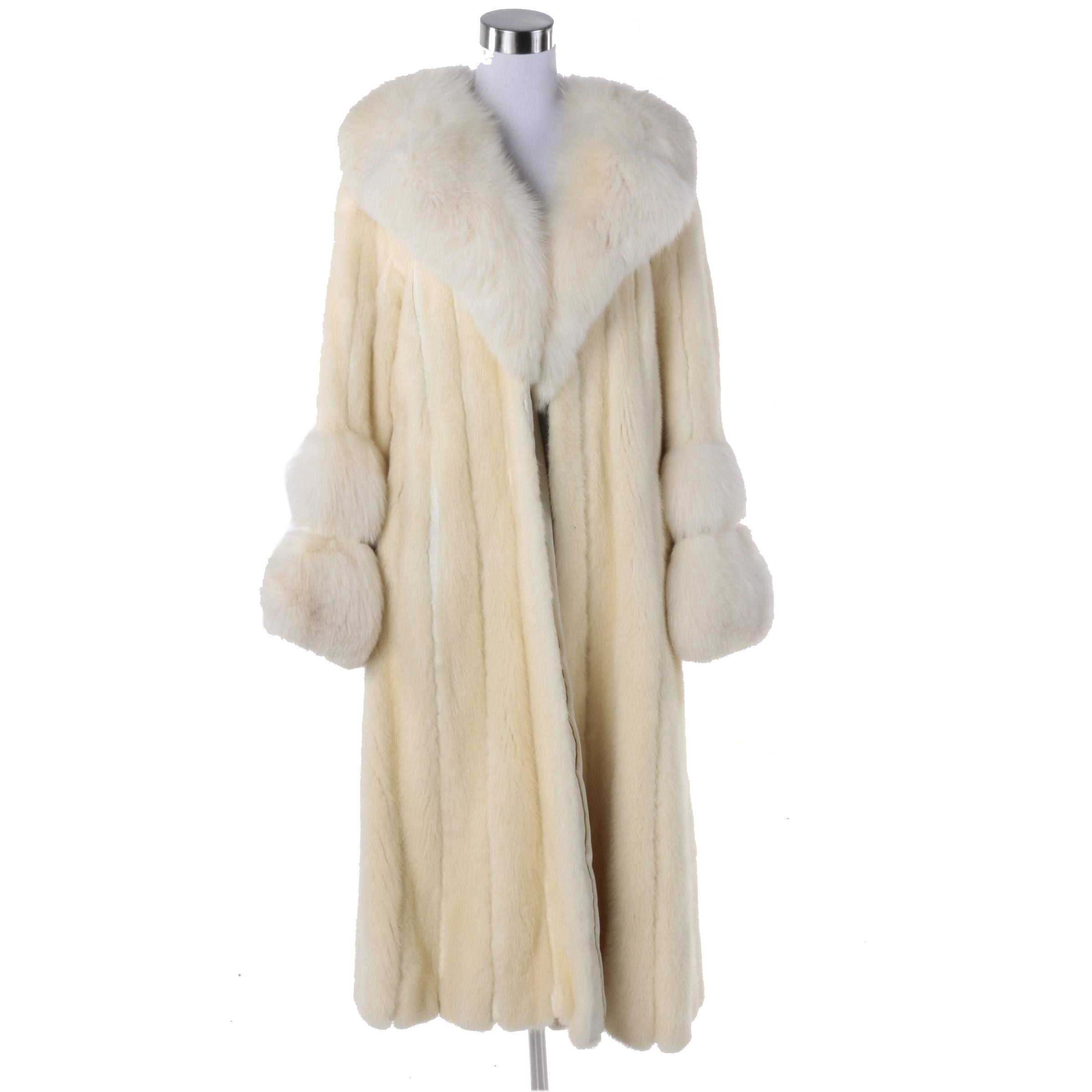Mink Fur Coat with Fox Fur Accents