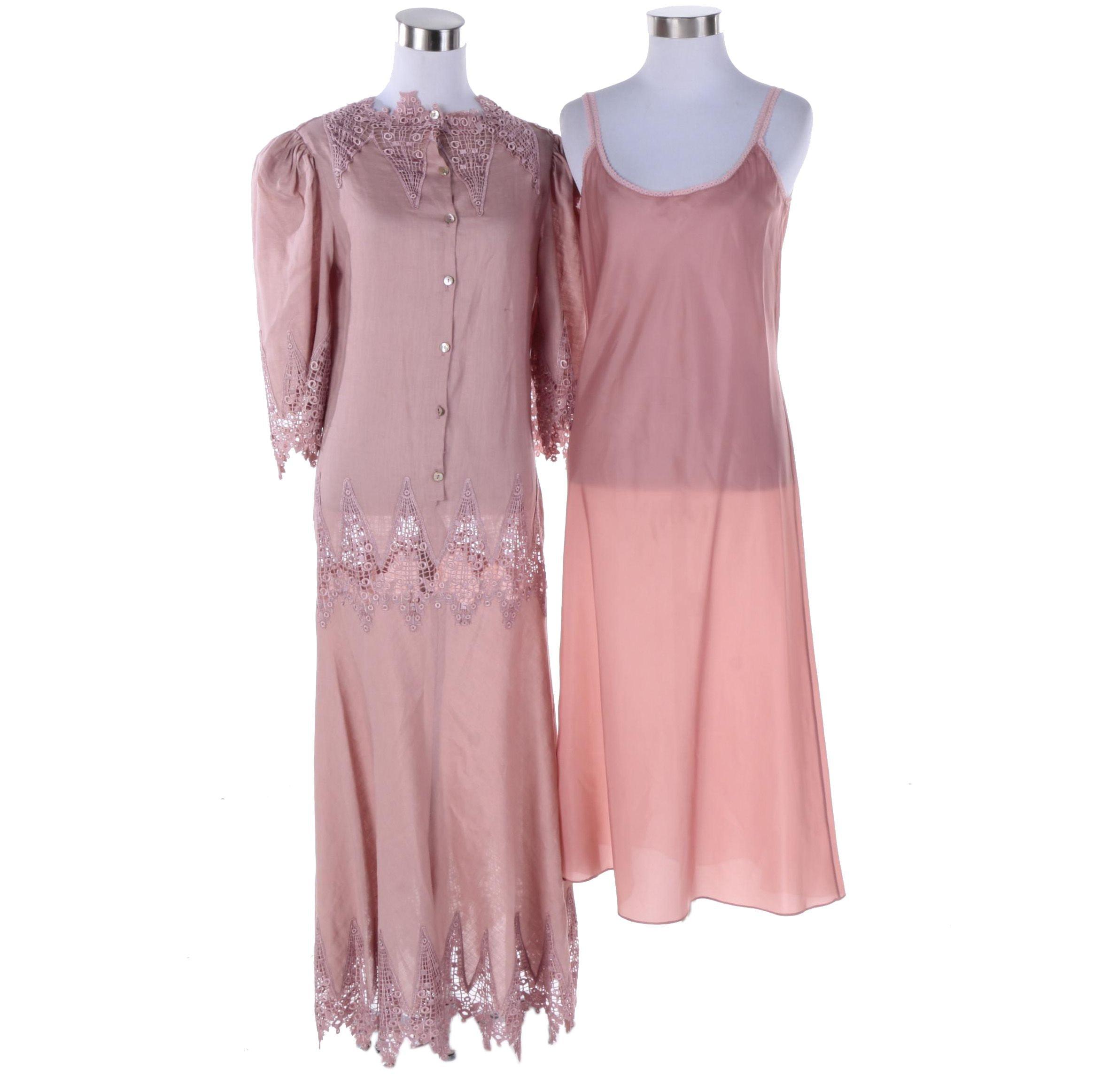 Women's Mauve Dress and Slip