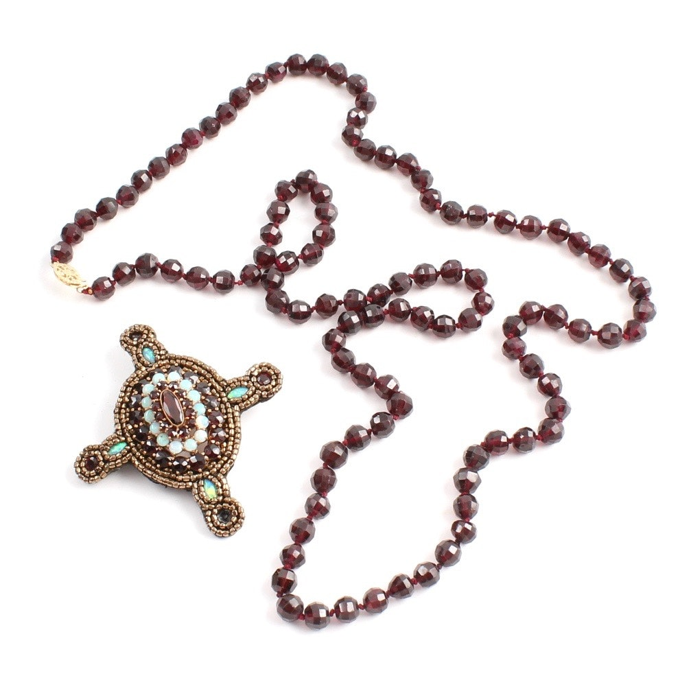 Garnet Necklace with Constructed Garnet and Opal Pendant