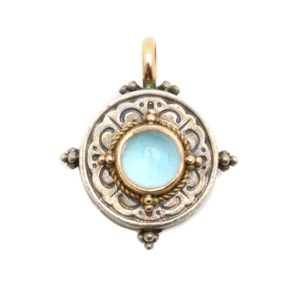 Konstantino Sterling Silver and 18K Yellow Gold Aquamarine Pendant