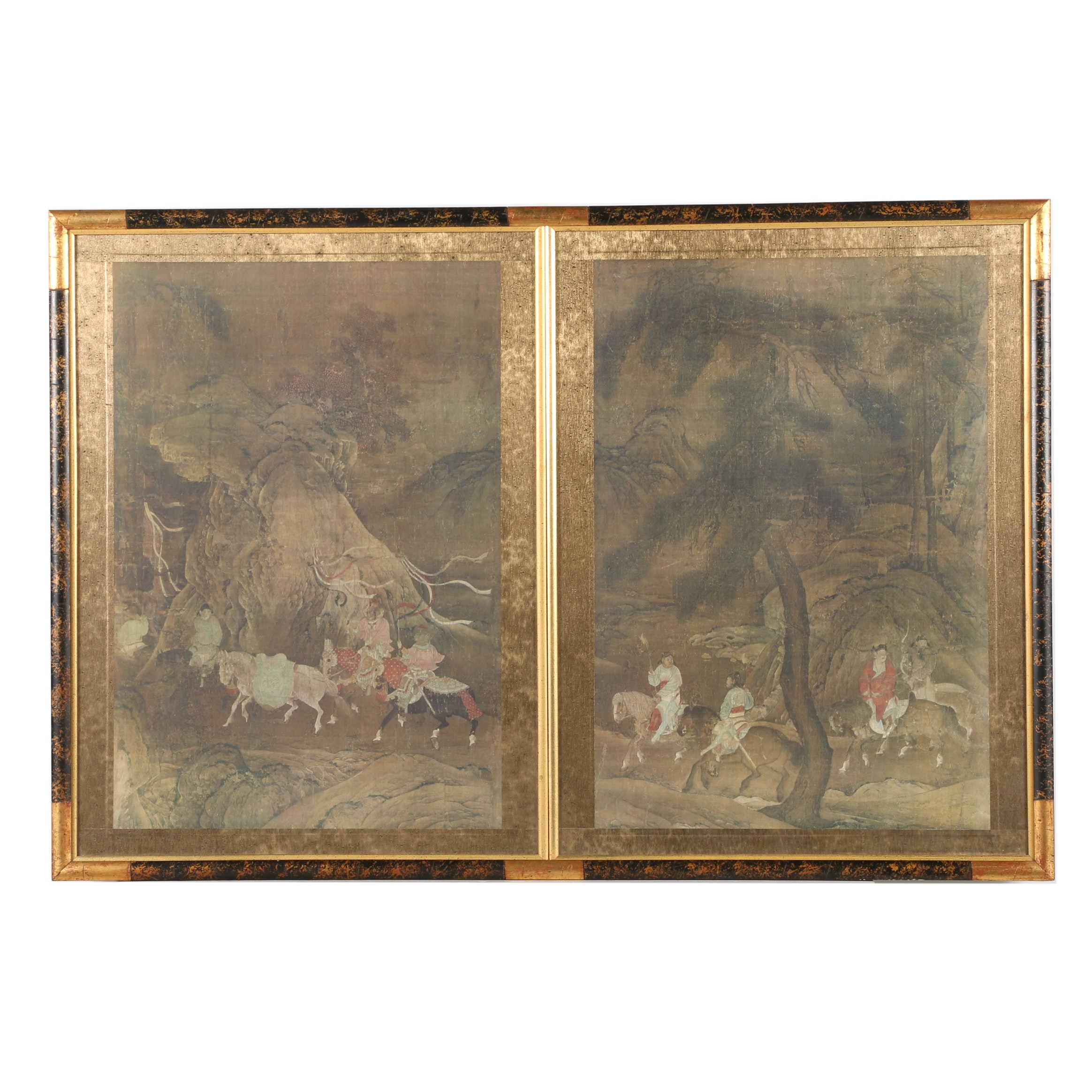"Pair of Giclee Prints After ""Emperor Xuanzong's Flight to Shu"""
