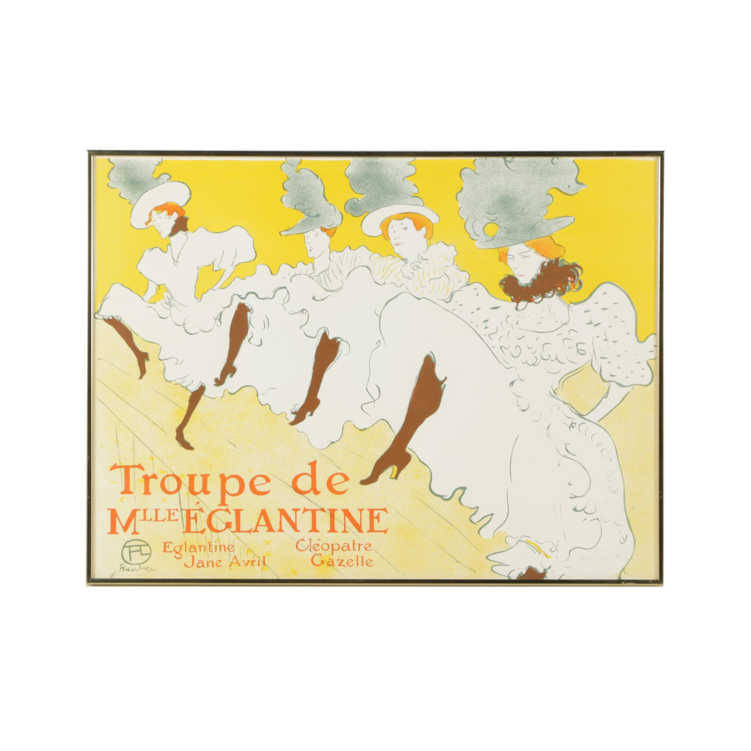 """Lithograph After Toulouse-Lautrec """"Troupe de Mlle Eglantine"""""""