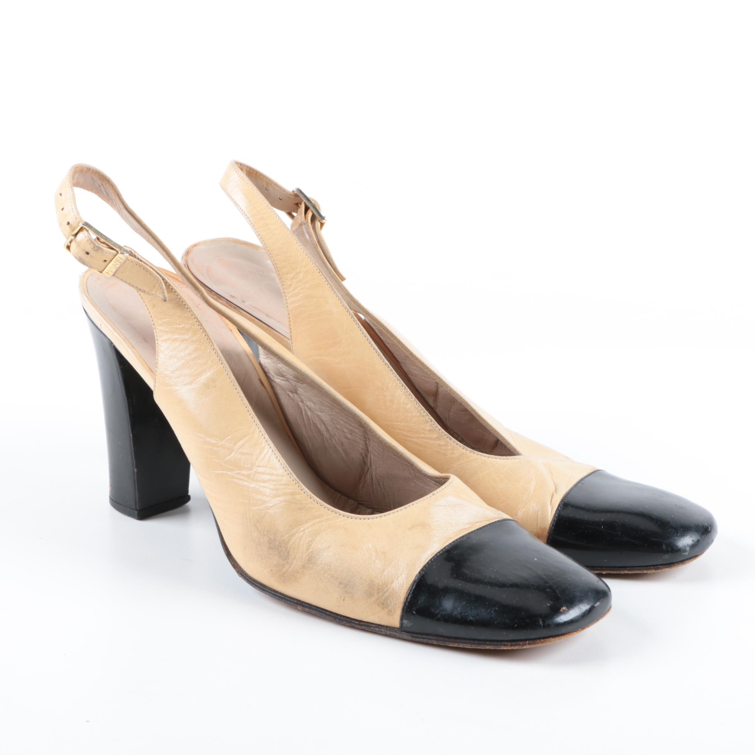 Women's Chanel Two Tone Leather Slingback Heels