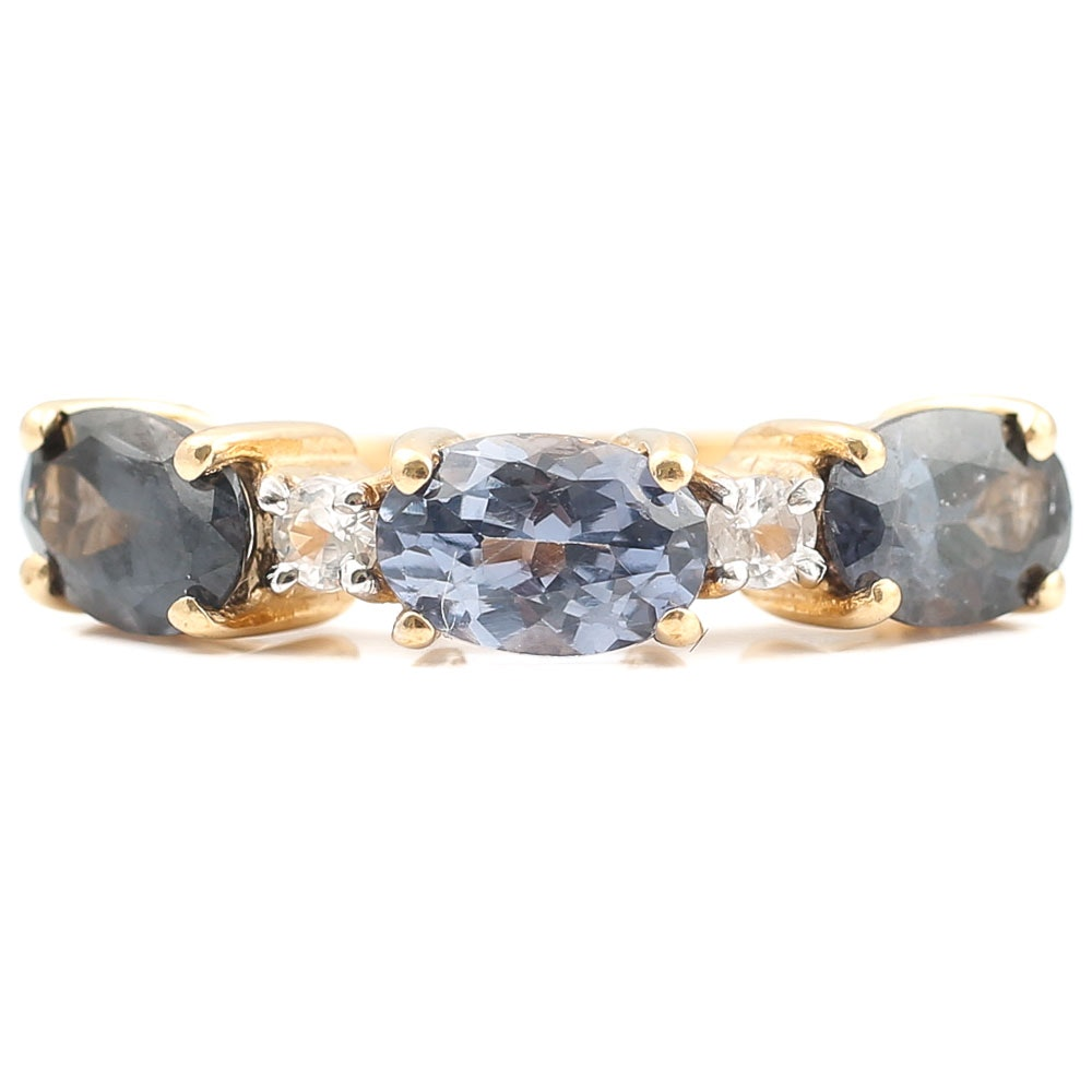 10K Yellow Gold 1.56 CTW Tanzanite and White Sapphire Ring