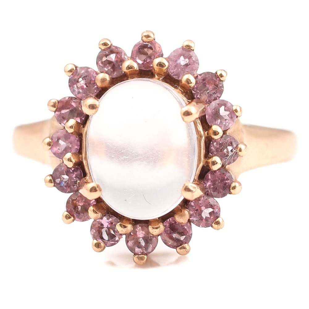 Rose Gold Wash Over Sterling 2.03 CT Moonstone and Pink Tourmaline Ring