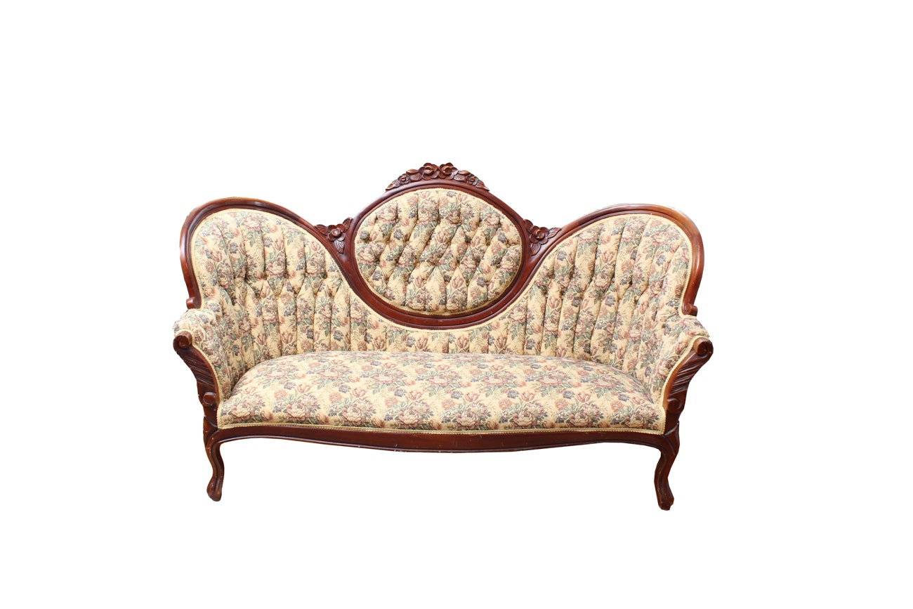 Antique Rococo Revival Cameo Back Settee