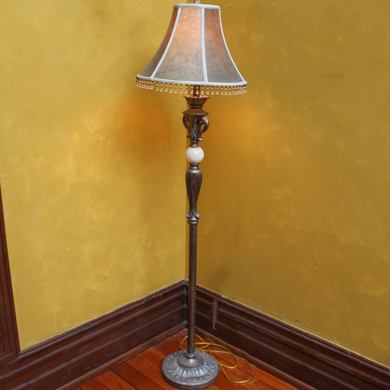 Floral Carved Floor Lamp with Stone