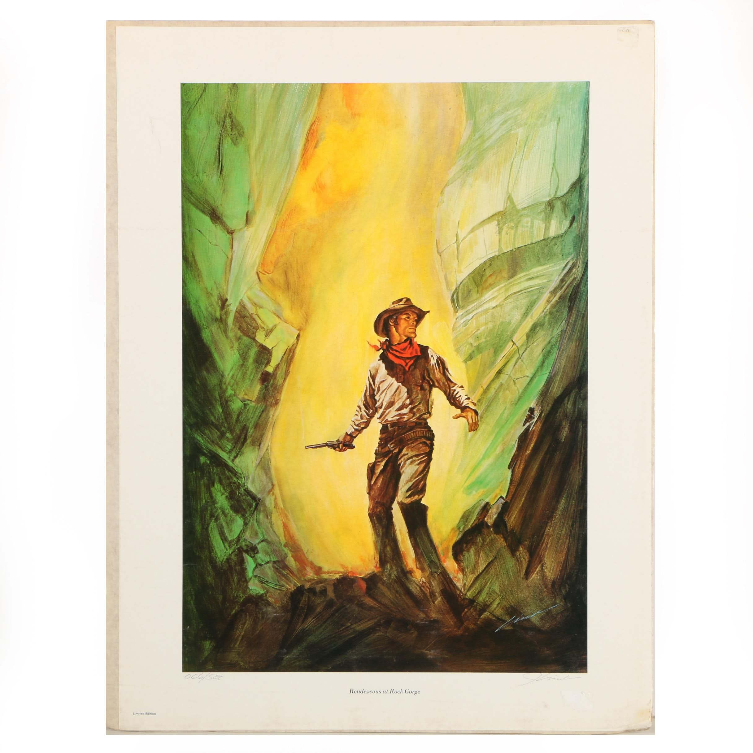 """Limited Edition Offset Lithograph """"Rendezvous at Rock Gorge"""""""