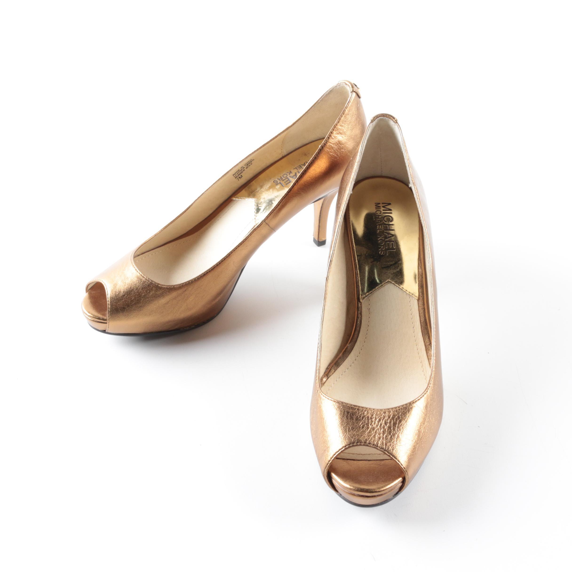 MICHAEL Michael Kors Copper Tone Leather Peep-Toe Pumps