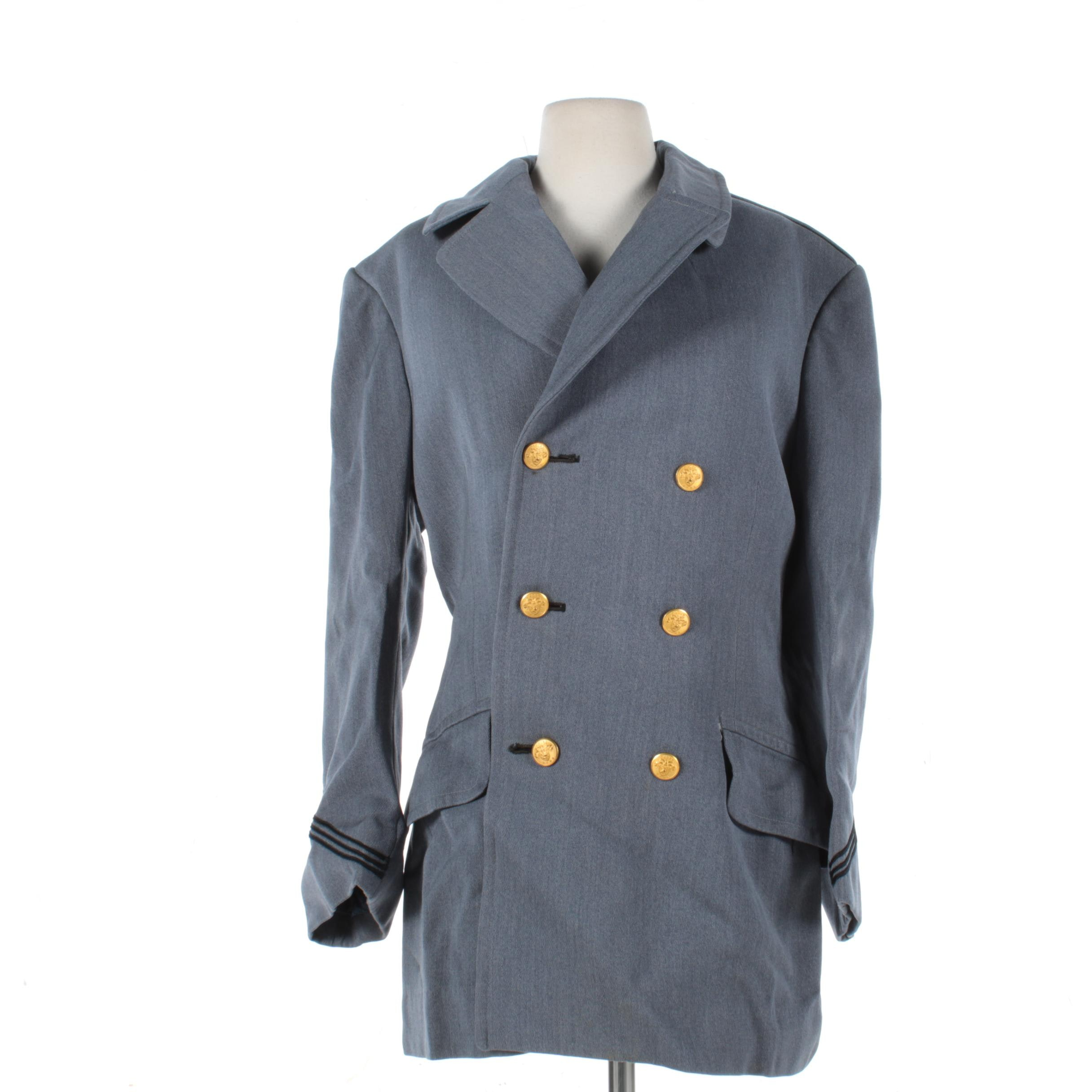 Vintage USMA West Point Military Academy Wool Cadet Short Dress Overcoat