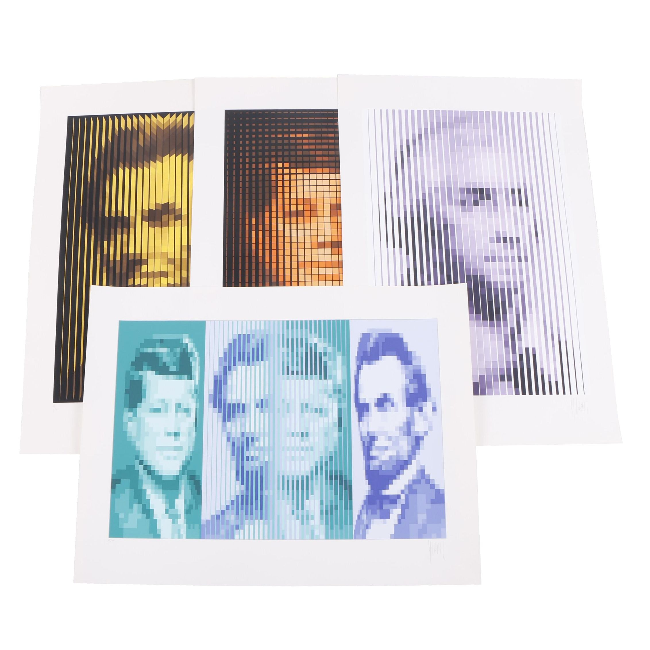 Jean-Pierre Vasarely Serigraphs Portraits of Presidents