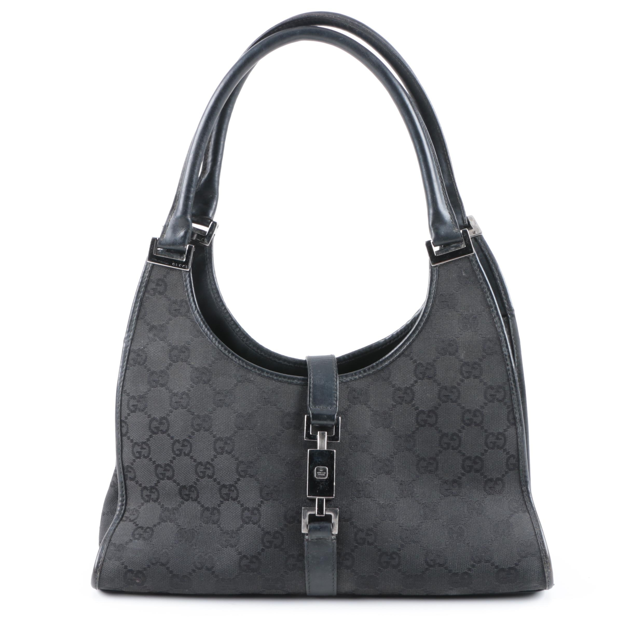 Gucci Bardot Black Signature Canvas and Leather Handbag