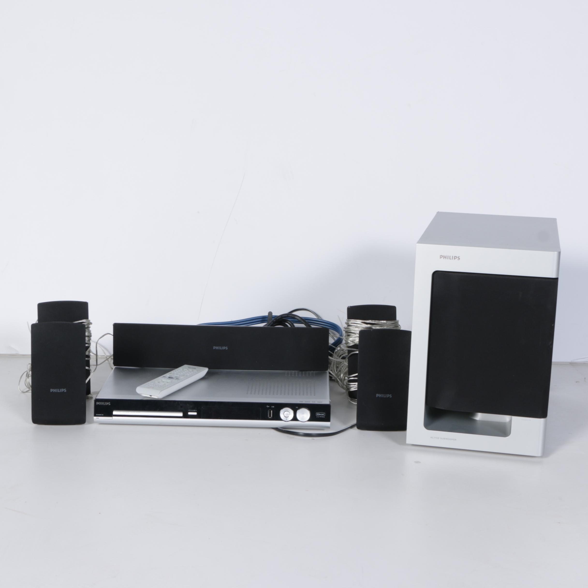 Phillips DVD Player, Speakers and Subwoofer