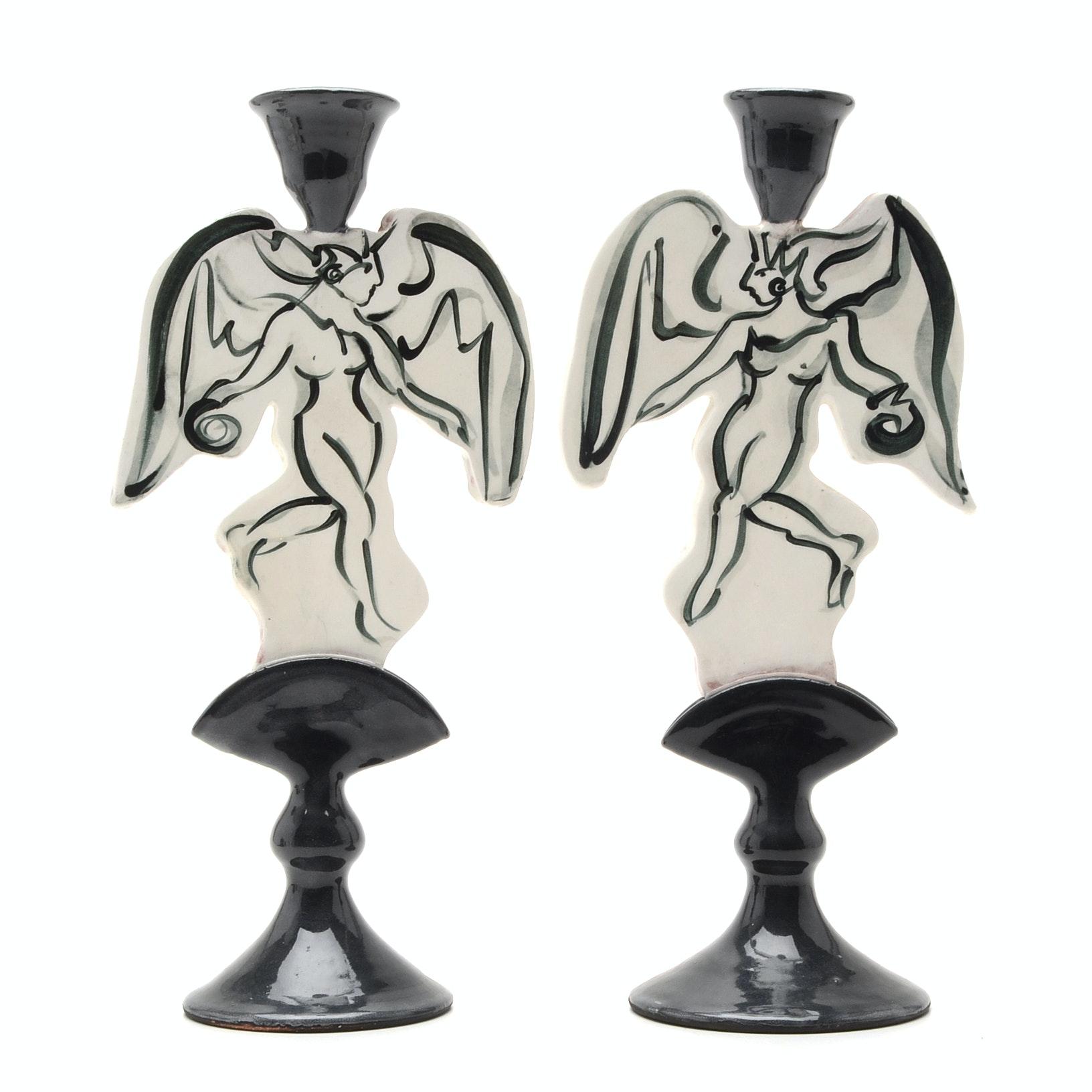 "Contemporary Handbuilt Stoneware ""Angel"" Candlesticks"