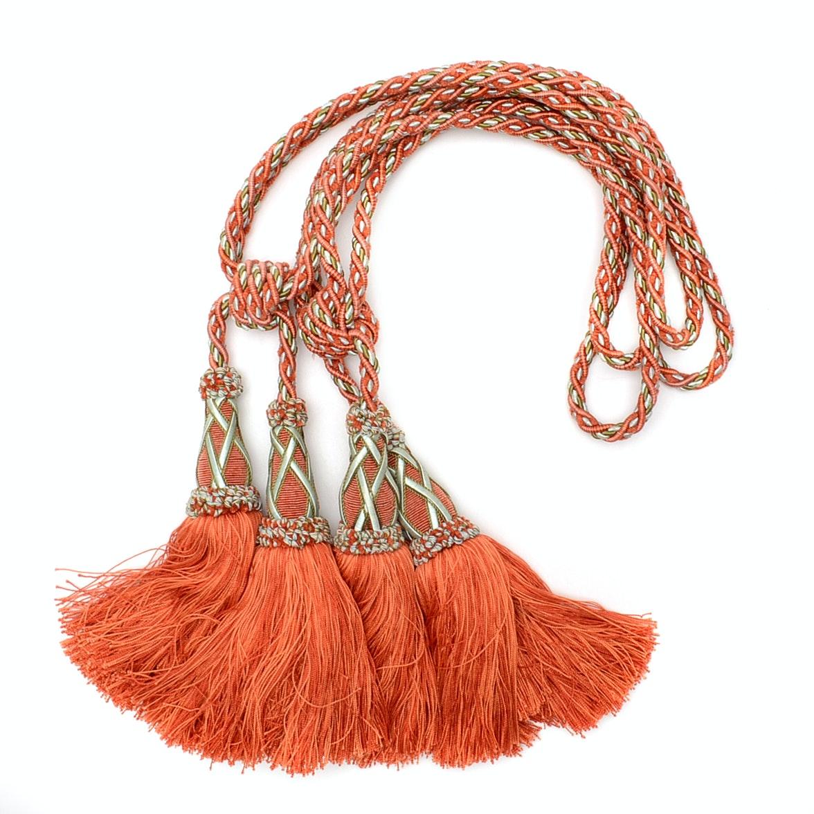 Fancy Drapery Tie Back Cords With Tassels