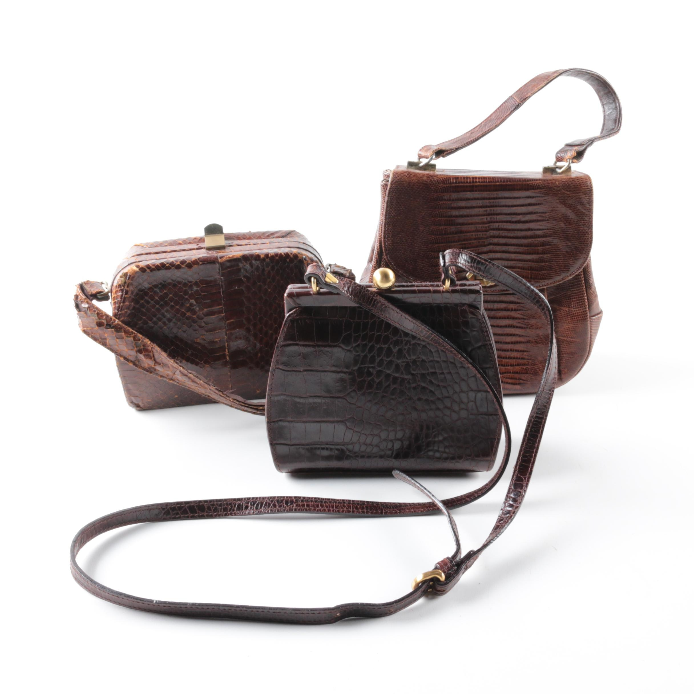 Vintage Leather and Reptile Skin Handbags