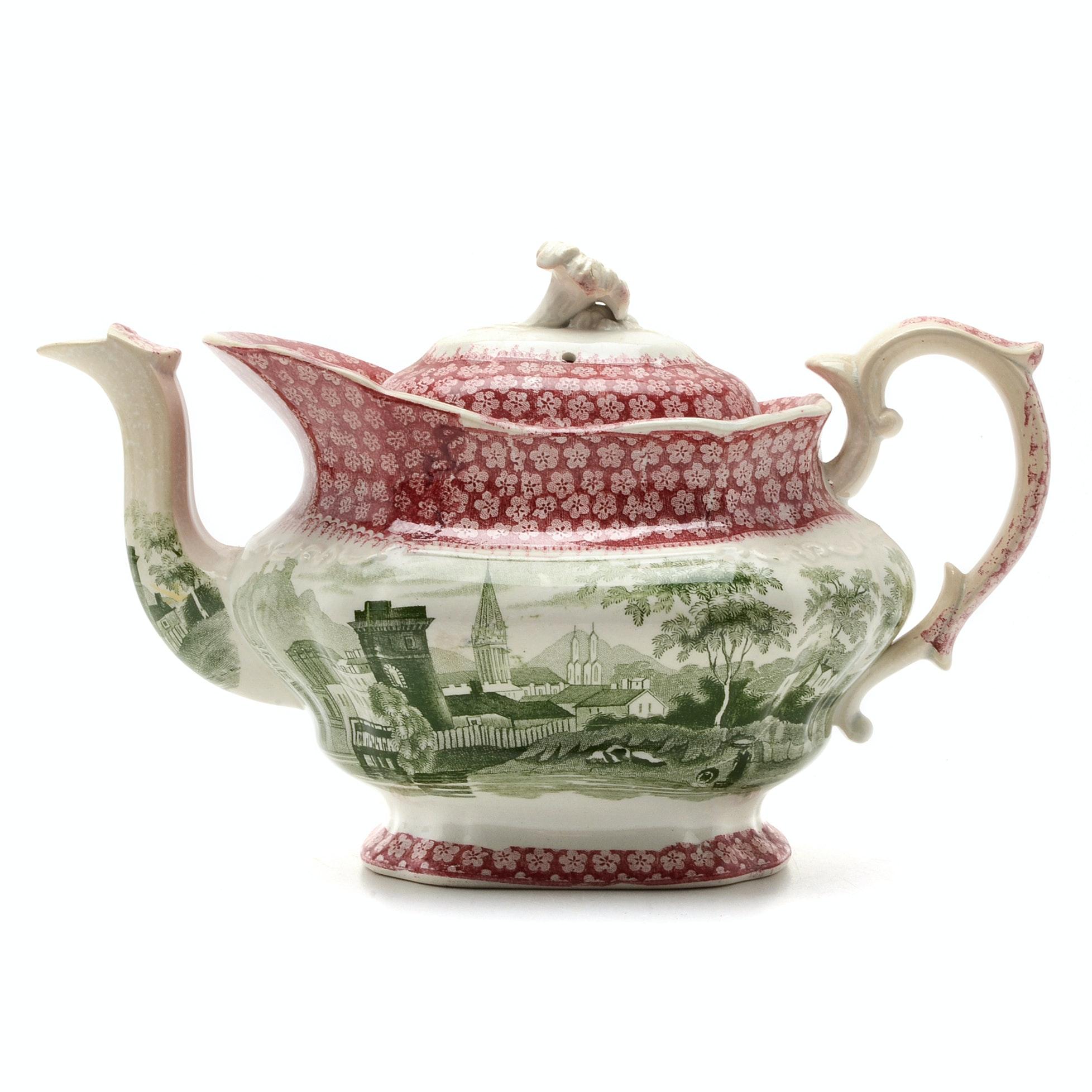19th Century Staffordshire Bi-Color Transferware Teapot