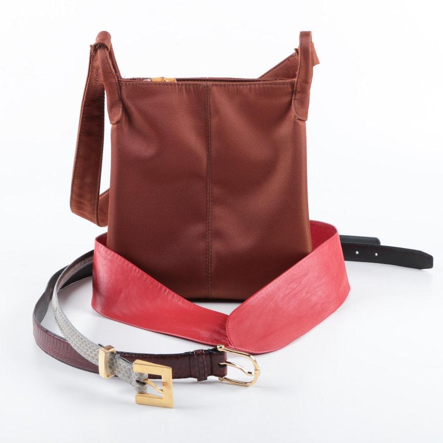 Women s Snakeskin and Leather Belts and Nylon Handbag   EBTH 9785ec8dd3